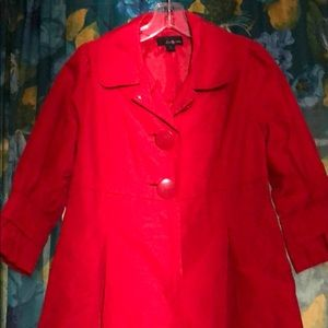 Red raincoat with Peter Pan collar